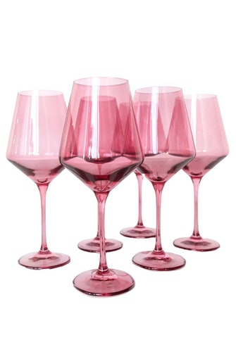 Colored Wine Stemware in Rose - Set of 6: image 1