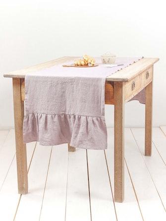 Linen ruffled table runner in Dusty Rose: image 1