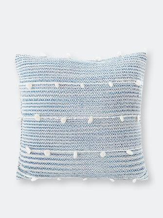Cozy Indigo Blue Textured Stripe Pillow: image 1