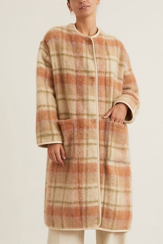 Wool Tartan Coat with Eco Fur in Miele: image 1