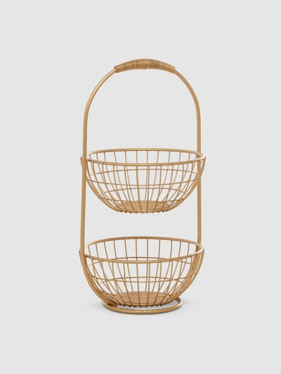 Two Tiered Mesh Basket Stand: image 1