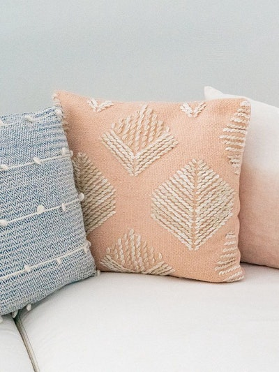 Pink Geometric Leaf Embroidered Pillow: image 1