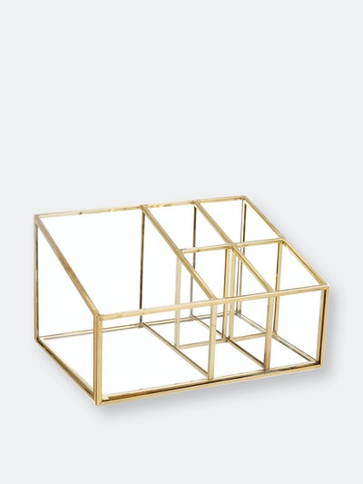 PuTwo Gold Mirror Vanity Organizing Tray with 5 Compartments: image 1