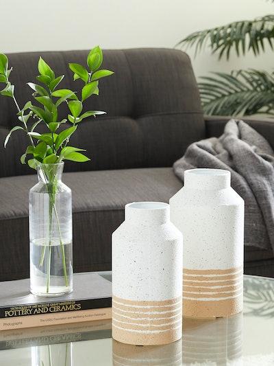 Speckled Metal Farmhouse Vases, Set Of 2: image 1