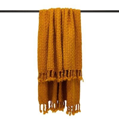 Furn Jocelyn Chunky Knit Throw (Mustard) (One Size): image 1