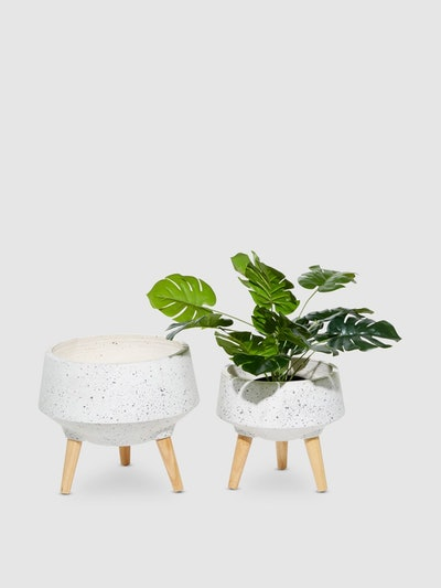 Textured Marble-Look Fiber Clay Planters, Set Of 2: image 1
