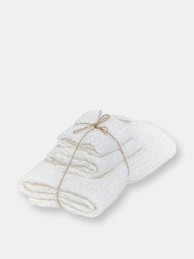 Linen waffle towel set in White: image 1