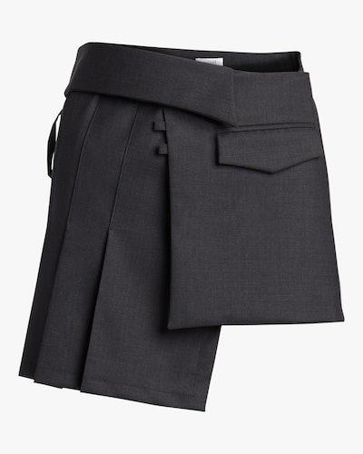 Pleated Wrap Mini Skirt: image 1