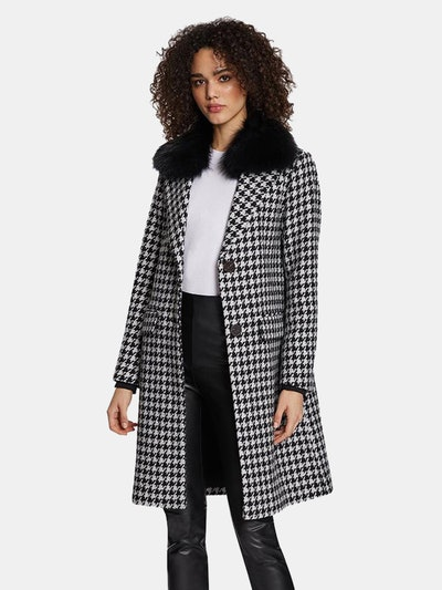 Noelle Houndstooth Pattern Wool Coat with Removable Raccoon Fur Collar: image 1
