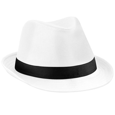 Beechfield Unisex Fedora Hat (White/Black): image 1