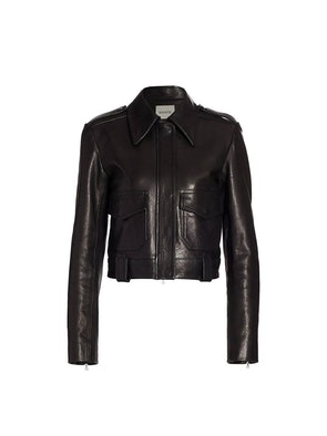 Cordelia Cropped Moto Leather Jacket: image 1