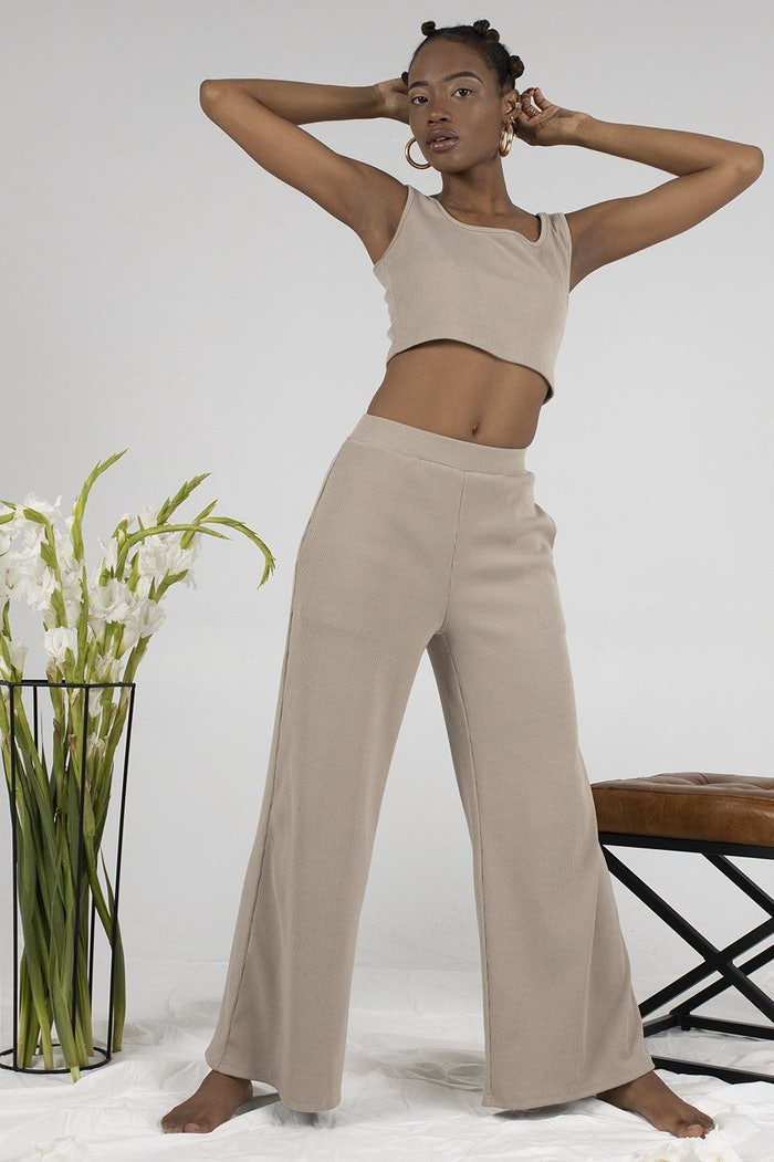 Ribbed Knit Set in Sand: image 1