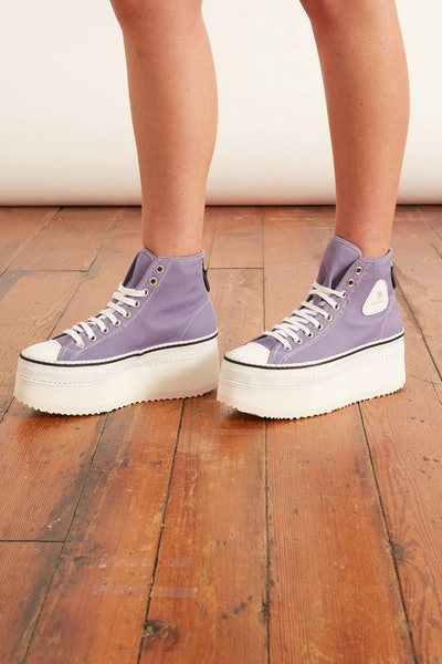 Platform High Top Sneaker in Lilac