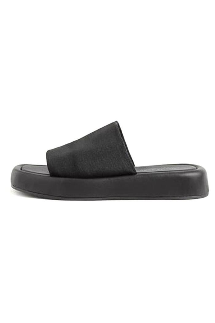 Deryn Stretch Square Toe Platform Slide Sandal in Black: image 1