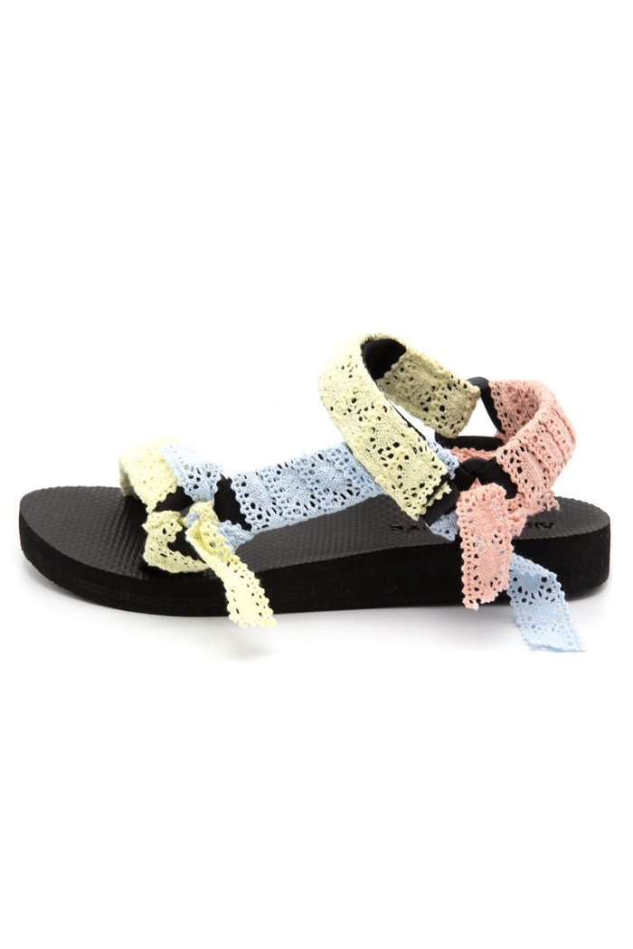 Trekky Sandal in Mixed Lace: image 1
