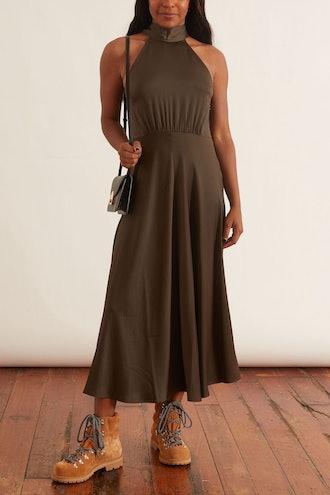 Rheo Dress in Black Olive: image 1