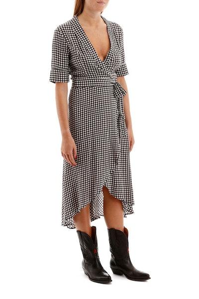 Ganni Vichy Wrap Dress