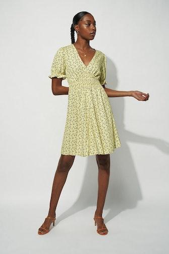 Button Up Puff Sleeve Mini Dress: image 1