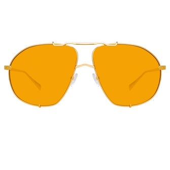 The Attico Mina Oversized Sunglasses in Yellow Gold and Orange: image 1