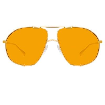 The Attico Mina Oversized Sunglasses in Yellow Gold and Orange