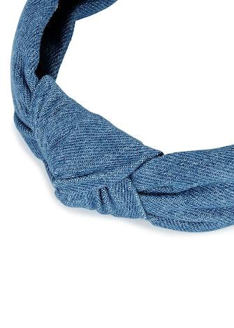 Blue knotted denim headband: image 1