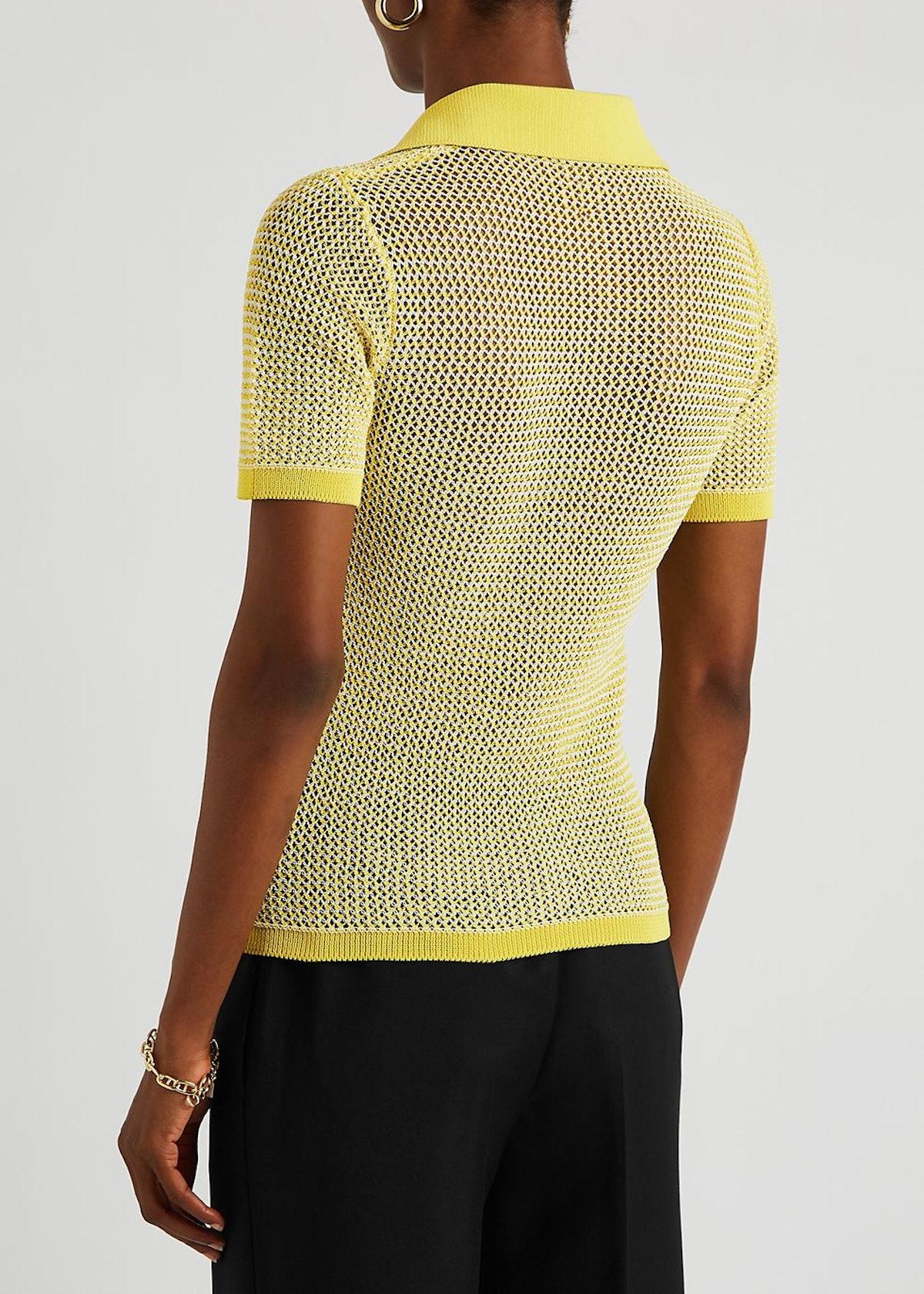 Yellow open-knit mesh polo shirt: image 1