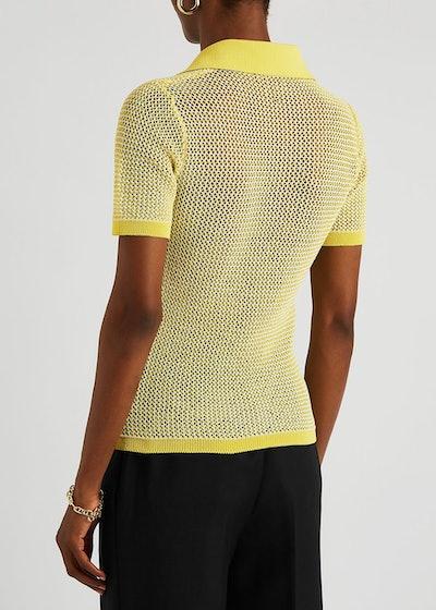 Yellow open-knit mesh polo shirt