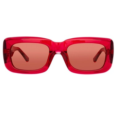 The Attico Marfa Rectangular Sunglasses in Red: image 1