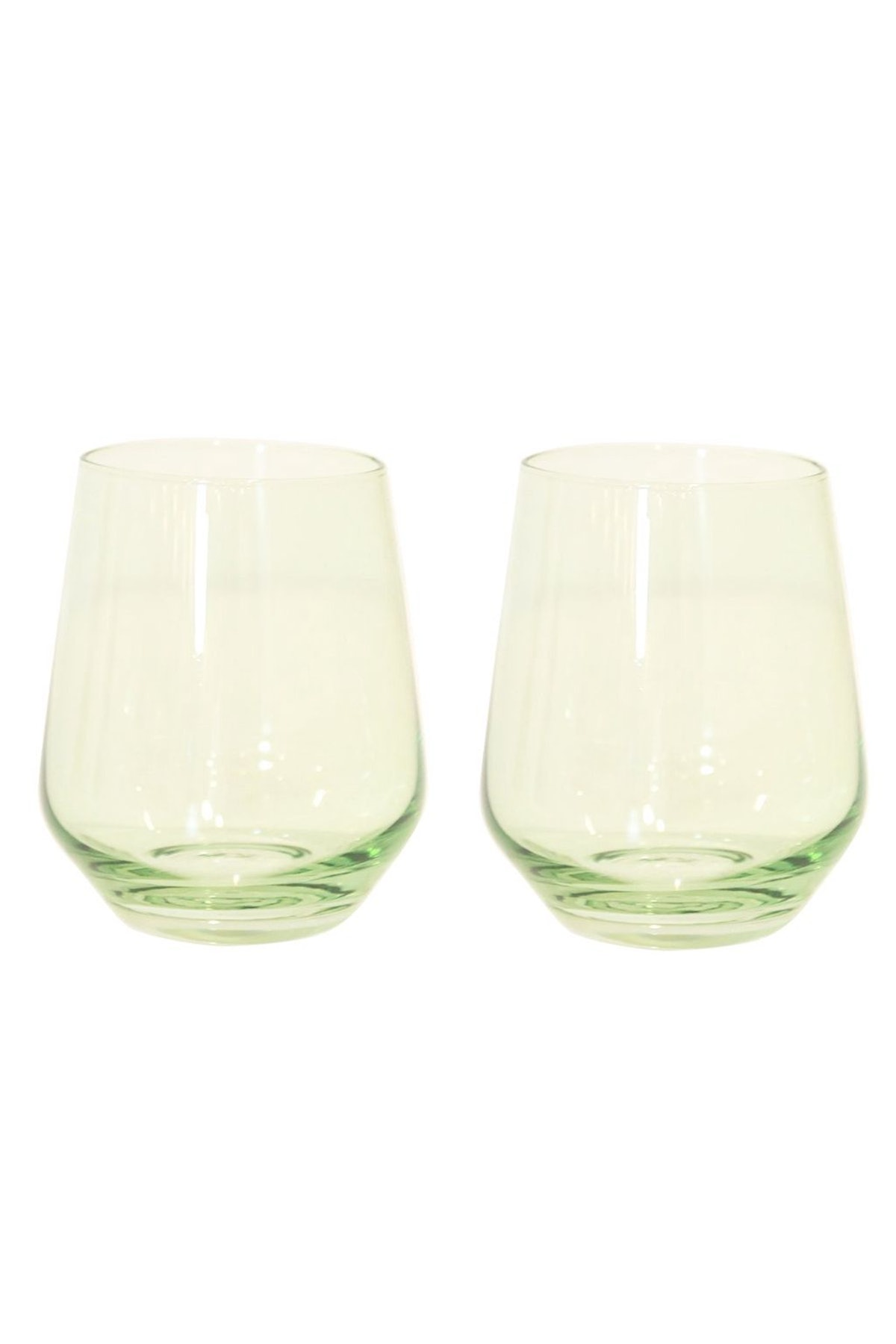 Colored Stemless Wine Glasses in Mint Green - Set of 2: image 1