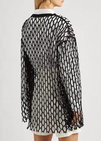 Henato black jersey-mesh top: image 1