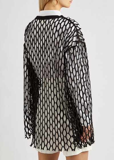 Henato black jersey-mesh top