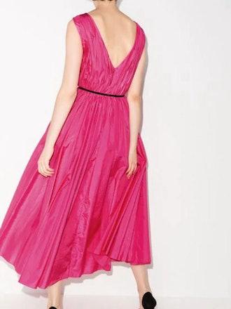 V-Neck Gathered Midi Dress With Belt: image 1