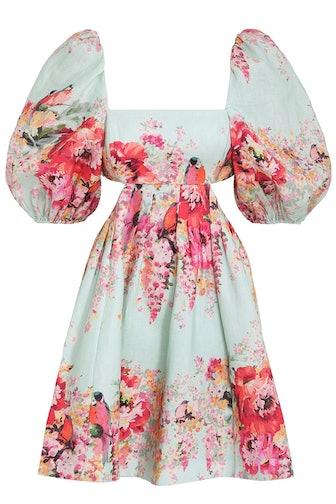Mae Cut Out Mini Dress in Mint Floral
