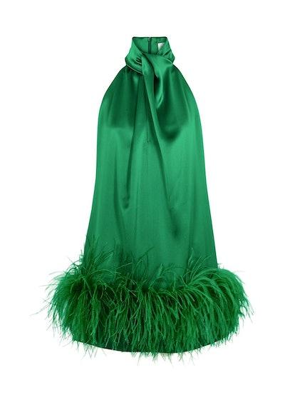 Cynthia green feather-trimmed mini dress