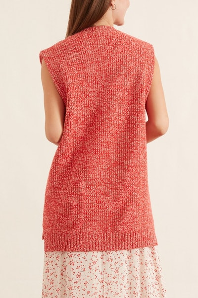 Cashmere Mix Knit Sweater Vest in Flame Scarlet: image 1