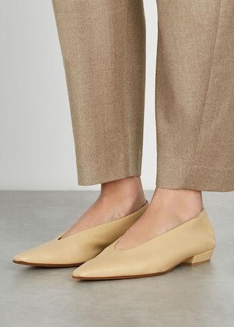 Almond cream leather flats: image 1
