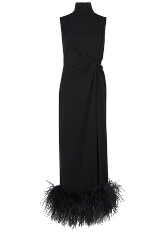 Maika black feather-trimmed midi dress: image 1