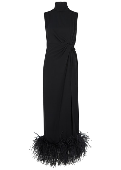Maika black feather-trimmed midi dress