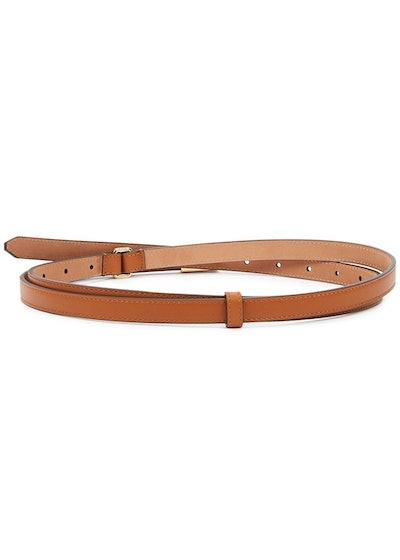 Brown logo leather wrap belt