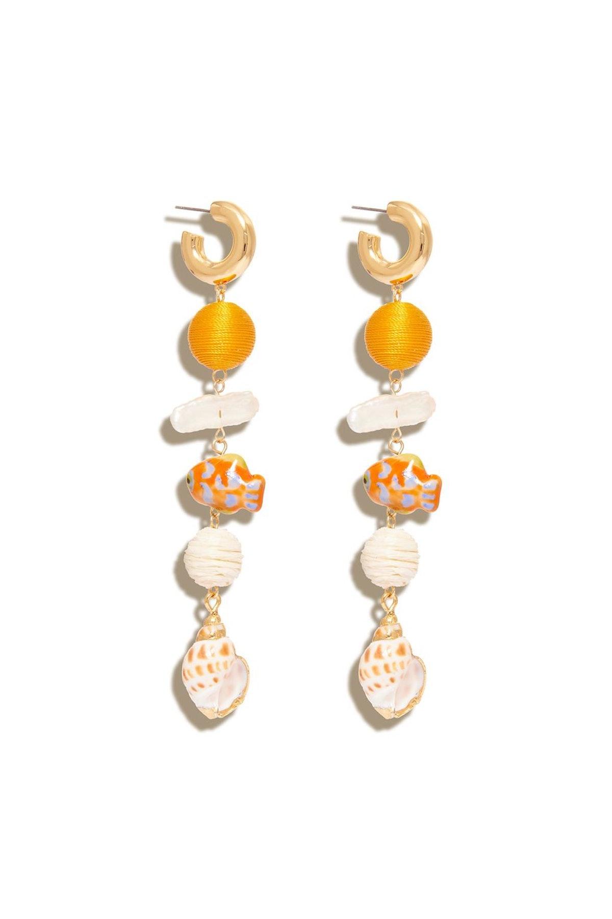 Lux Cora Hoop Dangle Earring in Orange Multi: image 1
