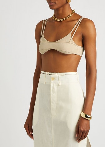 Le Bandeau Novio sand stretch-knit bra top