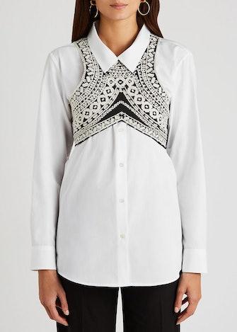 Black embroidered cotton bra top: image 1