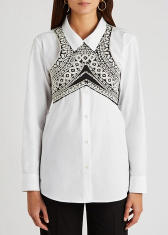 Black embroidered cotton bra top