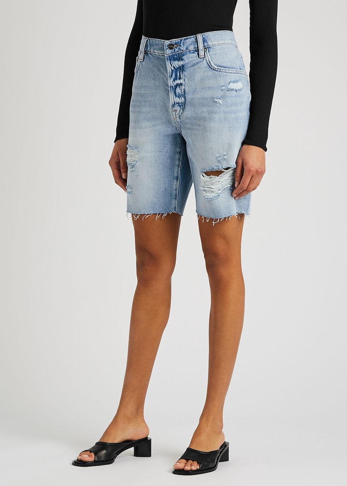 Le Slouch Bermuda distressed denim shorts: image 1