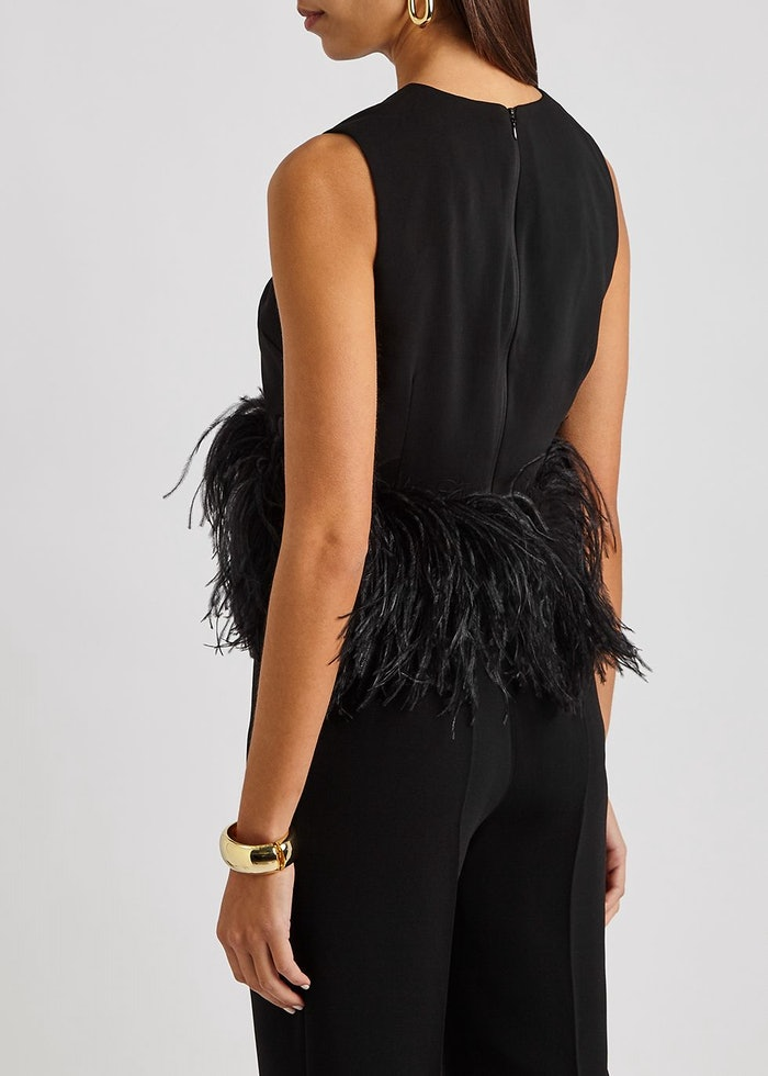 Dickinson black feather-trimmed top: image 1
