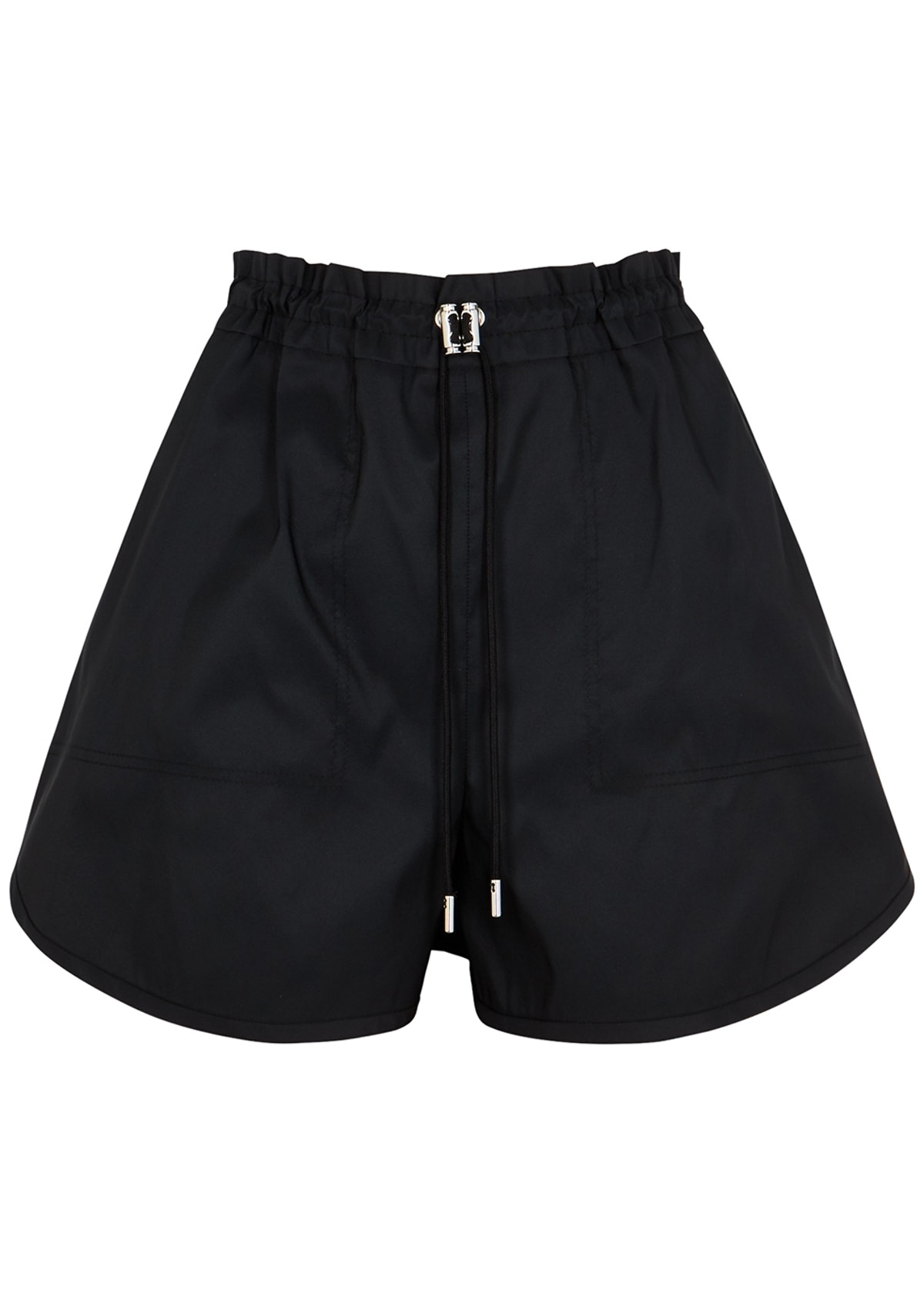 Black satin-twill shorts: image 1