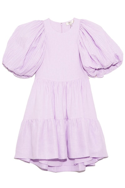 Bailey Broomstick Puff Sleeve Tiered Dress in Lilac