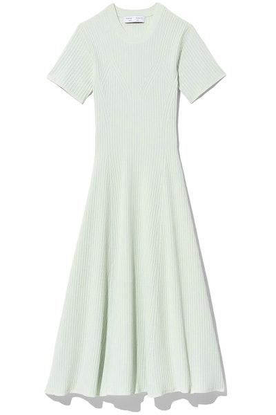 Cut Out Back Knit Dress in Pale Mint