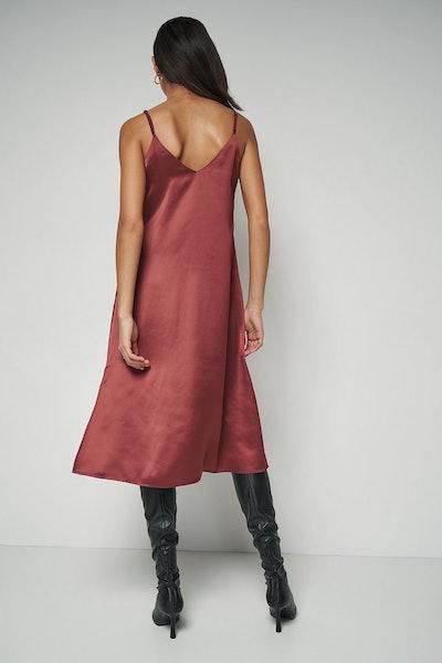 100% Recycled Satin Slip Midi Dress