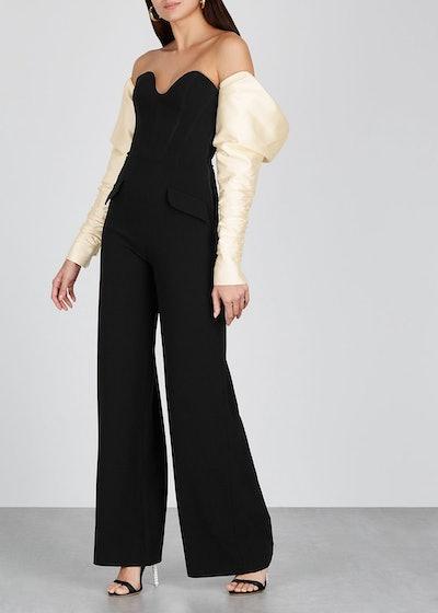 Black strapless wide-leg jumpsuit: image 1